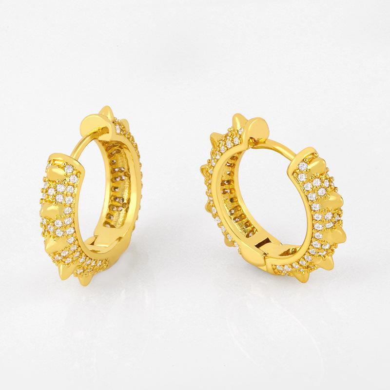 디자이너 마이크로 상감 이어 버튼 맞춤형 다이아몬드 피어싱 된 귀걸이 부티크 귀걸이 액세서리 ERU35