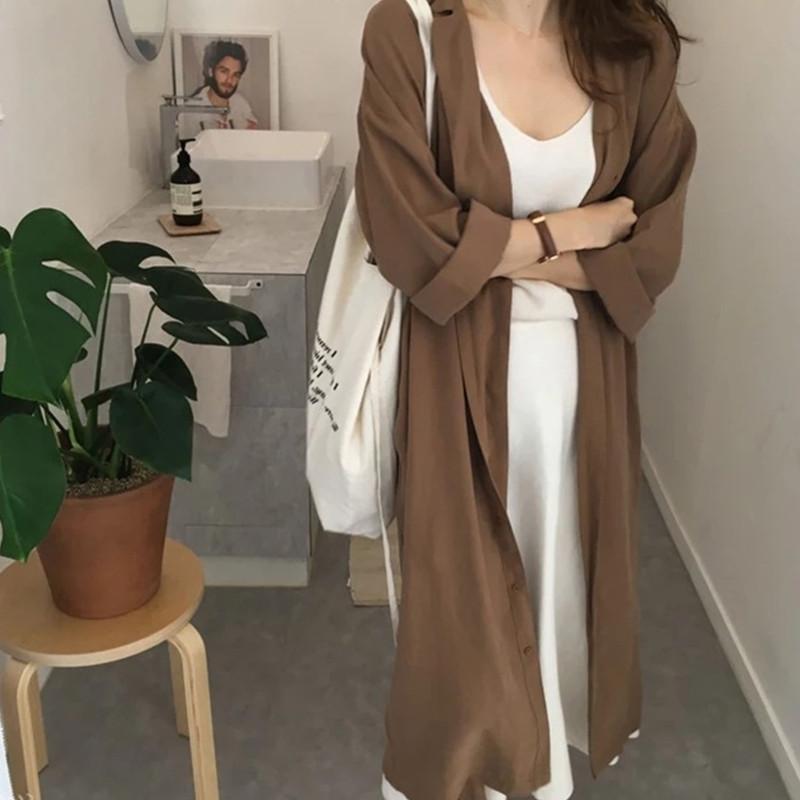 oversizedd mid-length 윈드 브레이커 여성 의류 2021 봄 가을 한국 패션 빈티지 느슨한 캐주얼 트렌치 코트 여성 여성용 코트