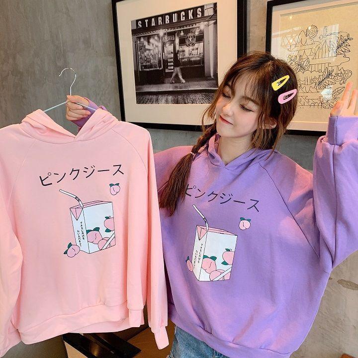 Hoodies das mulheres moletons harajuku pêssego bordado alfazema rosa camisola outono inverno mulheres kawaii solto mangas compridas tops oversize