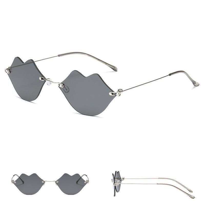 Personalidad Forma de labios sin marco Gafas de sol Mujer Tendencia Moda Ultra Luz Cómoda Cata de Vidrios Compras