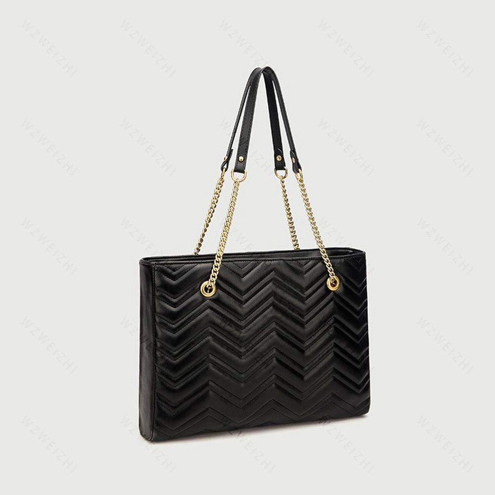 Hızlı Teslimat Klasik Moda Kadınlar Siyah Marmont Zincirler Çanta Deri Crossbody Lady Çanta Çantalar Sırt Çantası Tote Omuz Çantası Çanta