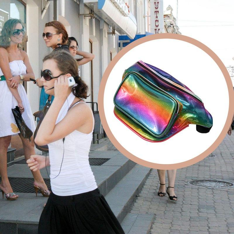 النساء الهولوغرام الليزر الخصر حقيبة الأزياء لامعة النيون فاني حزمة فاسق عاكس bum السفر حقائب محفظة