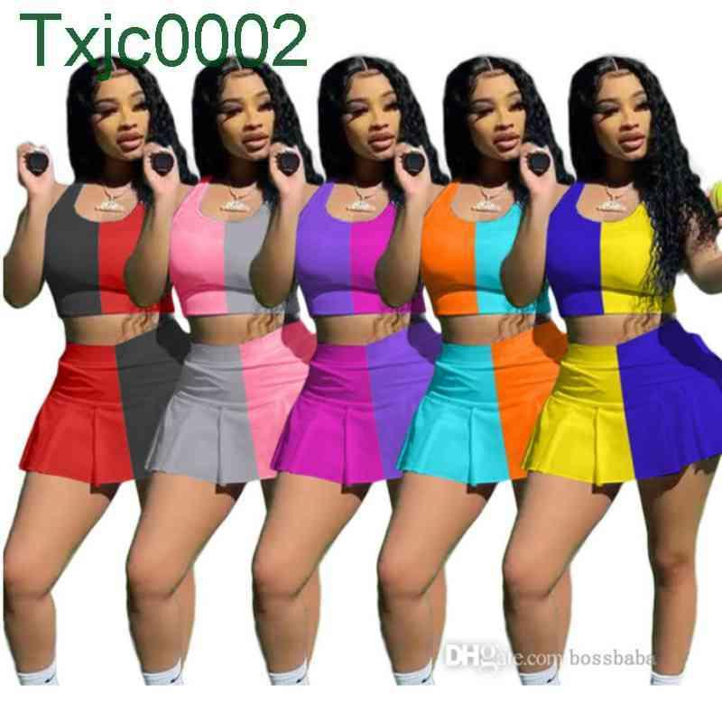 Women Tracksuits Designer Two Piece Dress T Shirt Shorts Yoga Outfits Summer Sexy Slim Vest Skirt Jogger Sets Plus Size Clothing