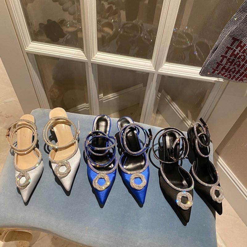 Elbise Ayakkabıları 2021 Yaz Seksi Kadınlar Chic Boncuklu Saten Kristal Düşük Yüksek Topuklu İpek Sandalet Tasarımcı Toe Sivri Mavi Parti Düğün Pompaları