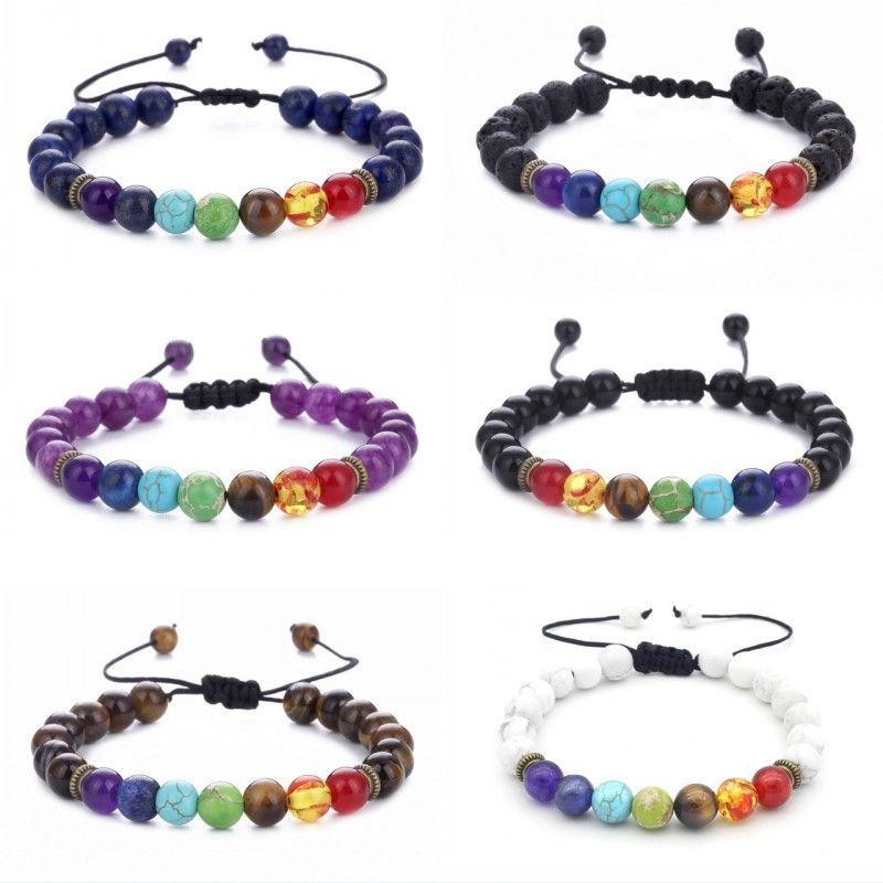 7 Chakra Bracelet Men Women Black Natural Lava Stone Yoga Beads Aroma Bracelets Adjustable Weave Rope Bangle Jewelry Kimter-B739S FZ