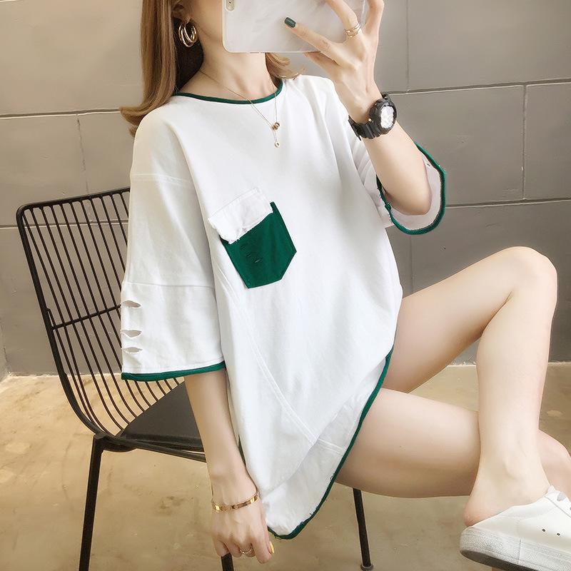 Camiseta recta 2021 Verano Nuevo Top Timbre Tamaño Tamaño Color Abrigo Agujero Bolsillo Manga Corta Camiseta Pultaver Mujer