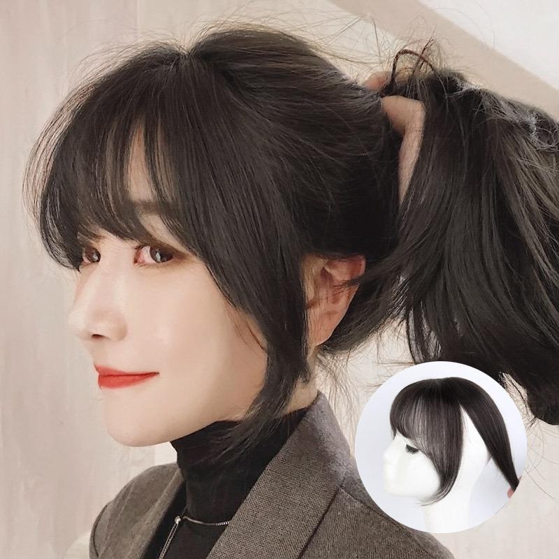 Stile della parrucca francese da donna Real 3D Air Fake Bangs Top Hair Natural Natural Trackless Patch invisibile
