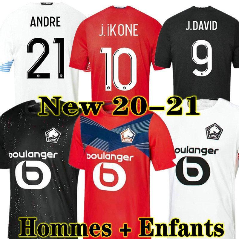 Losc Lille 20 21 축구 유니폼 데이비드 폰테 Bamba Yazici 축구 셔츠 2021 올림픽 Jikone 10 Maillot 성인 키트 키트
