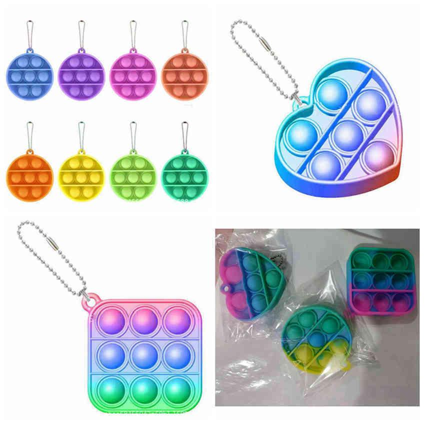 Many Shapes Colorful Push Bubble Key chain Gradien Sensory Fidget Mini Keychain Stress Reliever Toy Adult Kid Pop it by seaLLA512 EEVX 9Q23