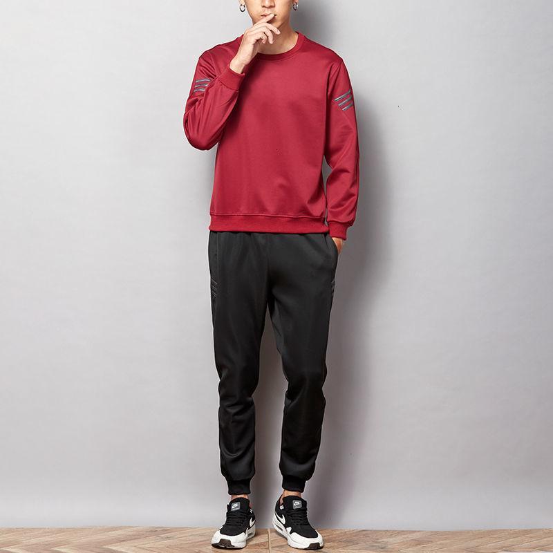 Erkek Eşofman Erkek TracksuitsSports Takım Elbise Erkek Bahar Ve Sonbahar Yuvarlak Yaka Kazak Koşusu Eğlence Pamuklu Pantolon Ince Boyutu Büyük Trend Spor Giysiler