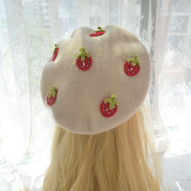 모리 일본 여성 작은 신선한 딸기 베레모 가을과 겨울 사랑스러운 한국 야생 화가 모자 모자 비스킷 모자 모자 모자