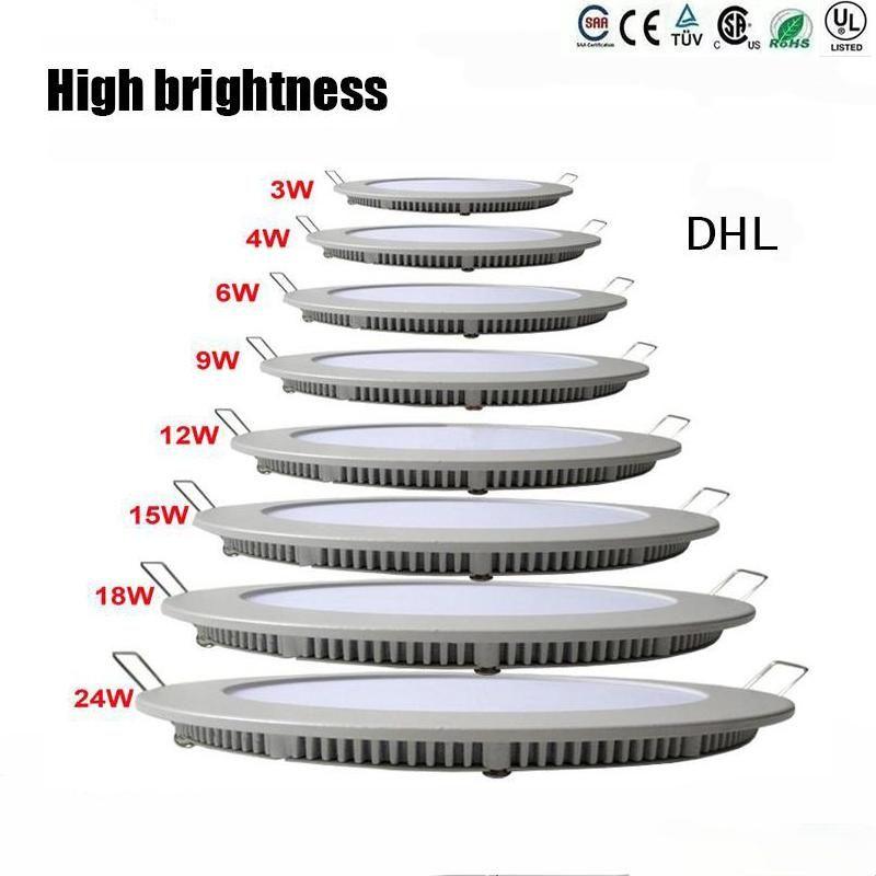 Luz do painel do diodo emissor de luz redonda de Dimmable SMD 2835 3W 9W 12W 15W 18W 21W 25W 110-240V LED que recuou a lâmpada SMD2835 Downlight + motorista