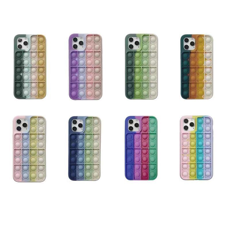 2021 Rainbow Push Bubble Antistress Toys Pop it fidget Phone Cases For Iphone 12 Pro MAX Mini 11 XR XS X 10 8 7 6 6S Plus Unique 3D Decompression Case Soft Silicone Cover