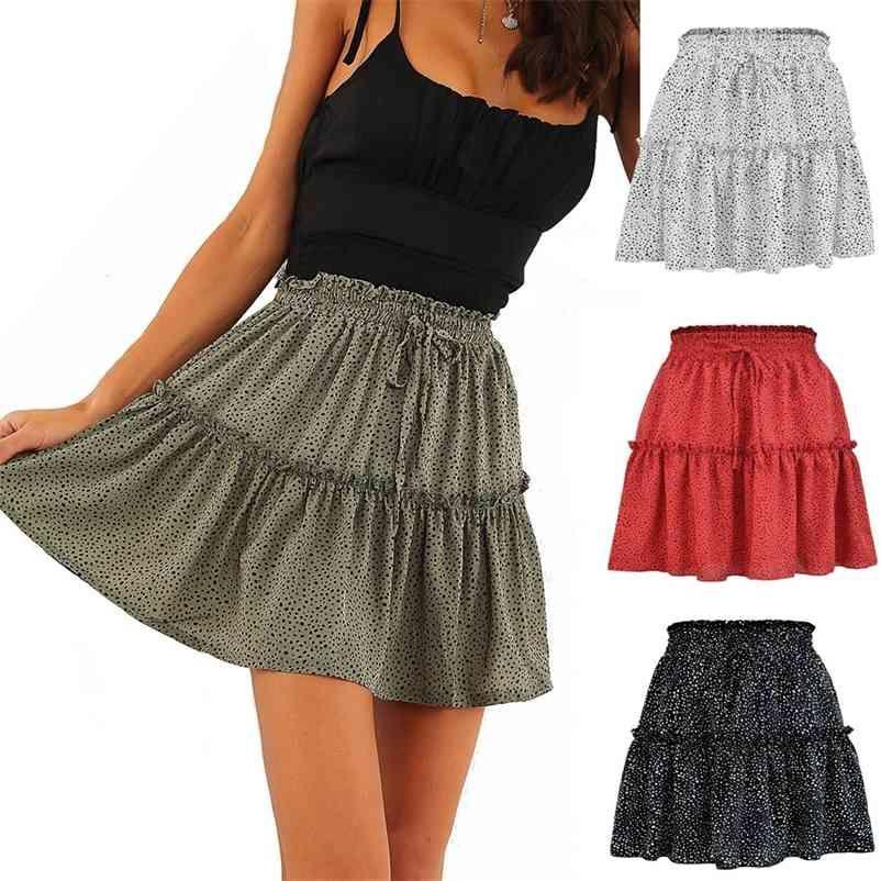 Sexy Frauen Mode Hohe Taille Rüschen Rock Für Frauen Chiffon Halblangen Rock Gedruckt Strand Eine kurze Mini Röcke Neue 210412