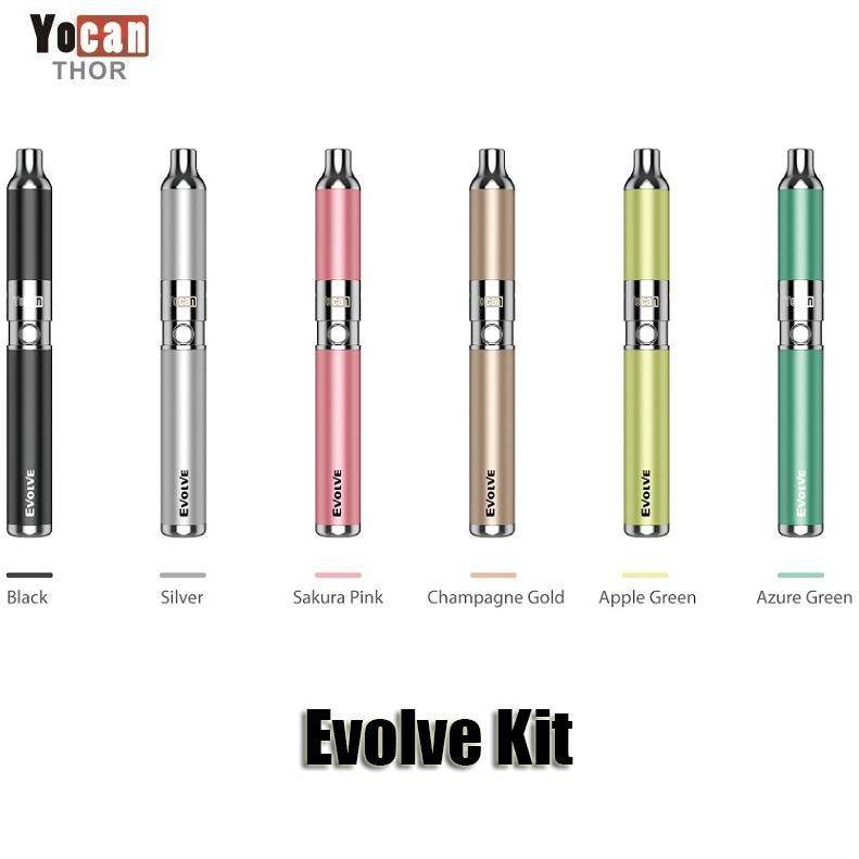 Authentic Yocan Evolve Starter Kit Purple wax pen Vaporizer with 0.8ohm Quartz Dual Coil 650mAh Battery ego thread atomizer Original