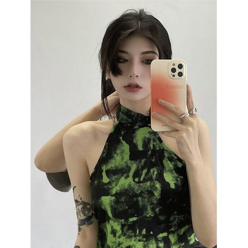 Women's Tanks & Camis Summer Design Sense Vest Women 2021 Niche Tie-dye Short Sling Tops Inner Outerwear Exotic Cami Top Tees Female's