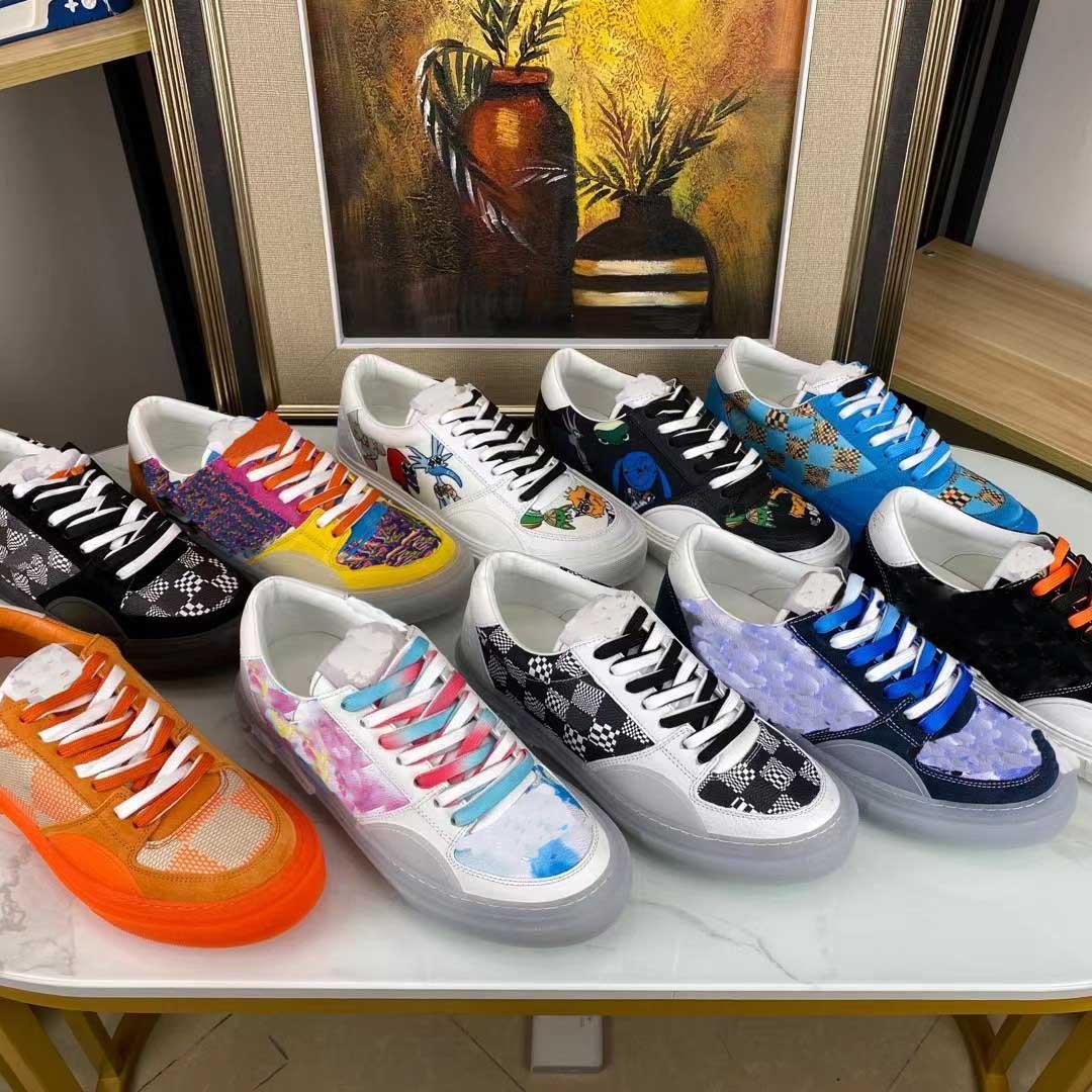 2021 Designer Mens Scarpe casual Qualità Graffiti Appartamenti Sneakers Luxury Acquerello Fiori Allenatori Allenatori Lace Up Gingham Piattaforma Checker scarpe da uomo Sneaker box 38-45