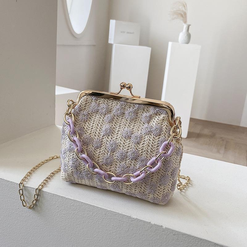 Einfache Gewebt Sommertasche Weibliche Strandkette One-Shoulder New Stroh Kleiner Messenger Gelegenheit Tragbare 2021 Hgugd