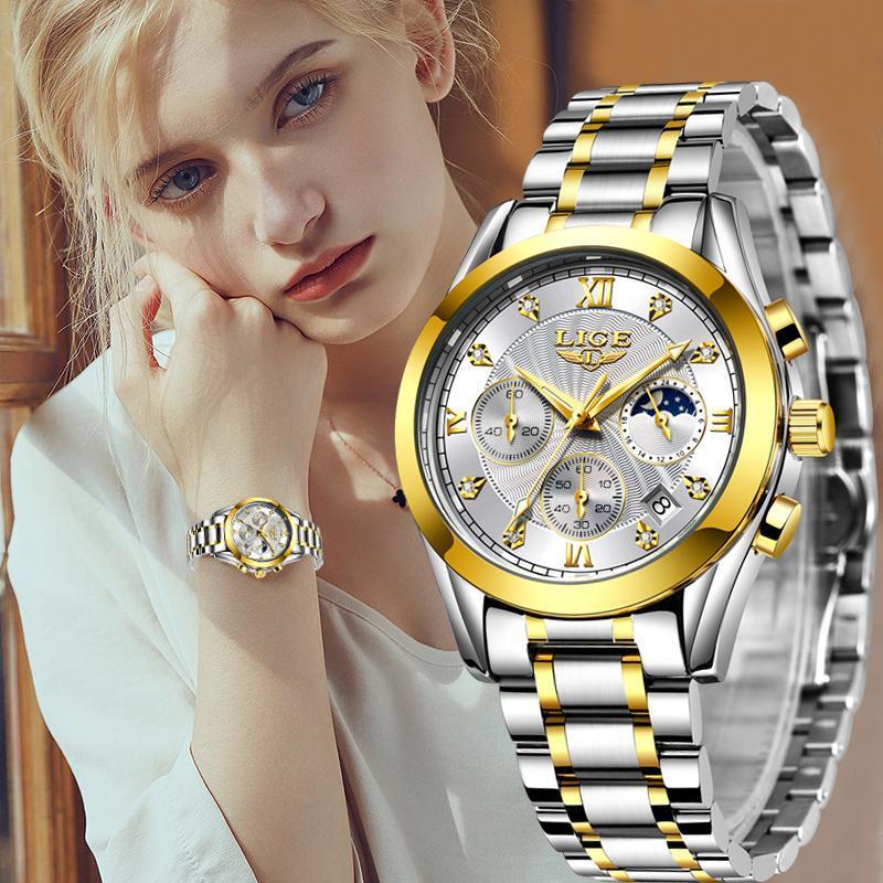 골드 시계 여성 시계 숙녀 크리 에이 티브 스틸 여성 팔찌 여성 방수 시계 몬트르 Femme + Box Wristwatches