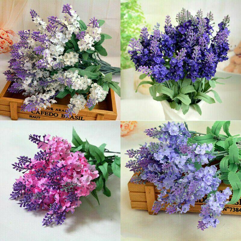 10heads / bouquet Artificial seda lavanda Falsa jardins flor planta decoração