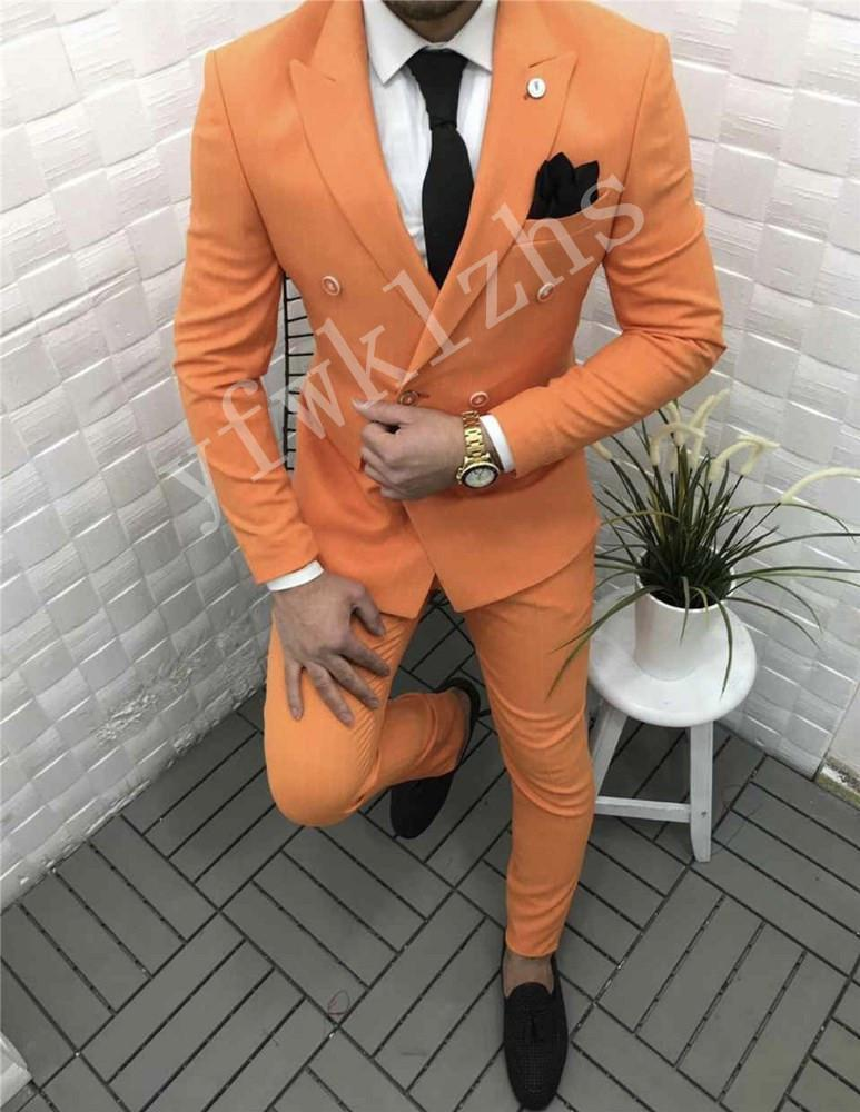 Classic Double-Breasted Wedding Tuxedos Peak Lapel Handsome Slim Fit Suits For Men Groomsmen Suit Prom Formal (Jacket+Pants+Tie) W636