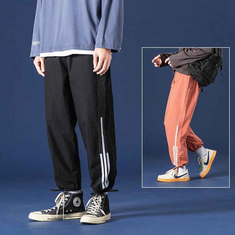Autunno New Men's Casual Long Corean Fashion Semplici Pantaloni sciolti e Belli Capri con cordoncino