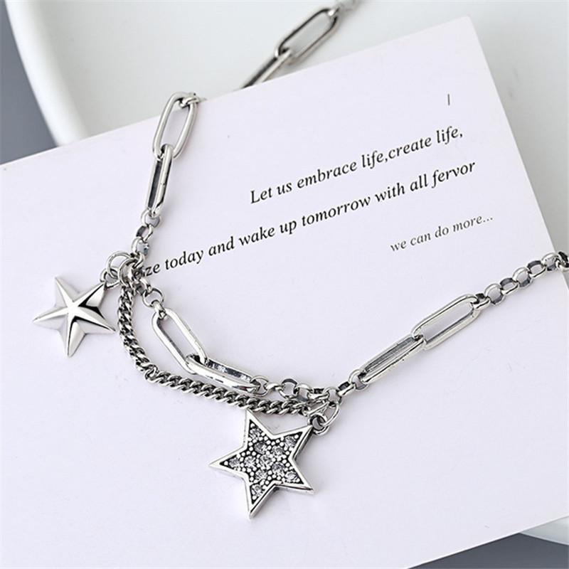 Miuoxion Persönlichkeit Modeschmuck Einfache Retro Doppelstern Zirkon Halskette Für Frauen Feature Namour Charme Geschenk Alle Jahreszeiten Anhänger Neckla