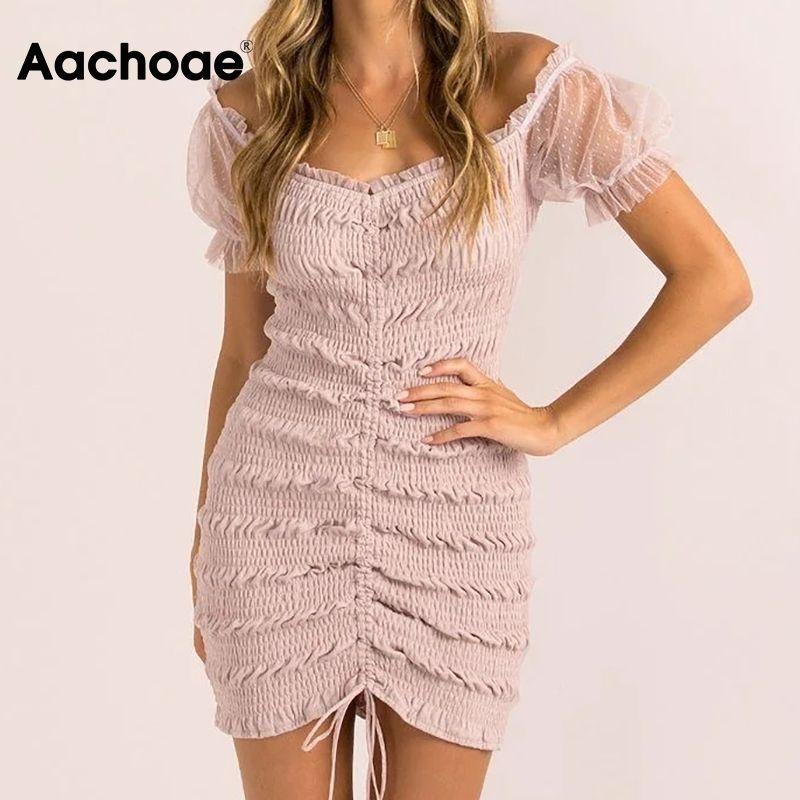 Chic Dresses 210413 Sexy Bodycon Mini Dress Women Drawstring Pleated Party Dress Summer Short Sleeve Aachoae Mesh Patchwork