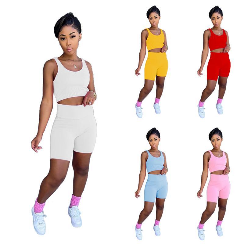 Summer Femmes Débardeurs Tops Solide SexyClub Tracksuits Crop Tops + Shorts 2 PCS Set de costume sportif Vest + Pantalon court SweatSuits Vêtements DHL 5094