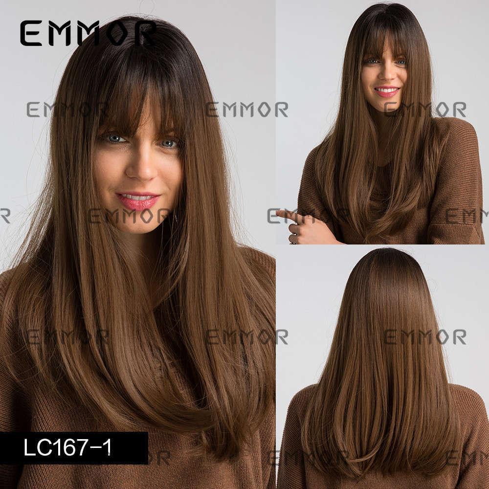 Emmor Chemical Faser Black Gradient Brown Damen Lange Gerade Haar Split Air Bangs