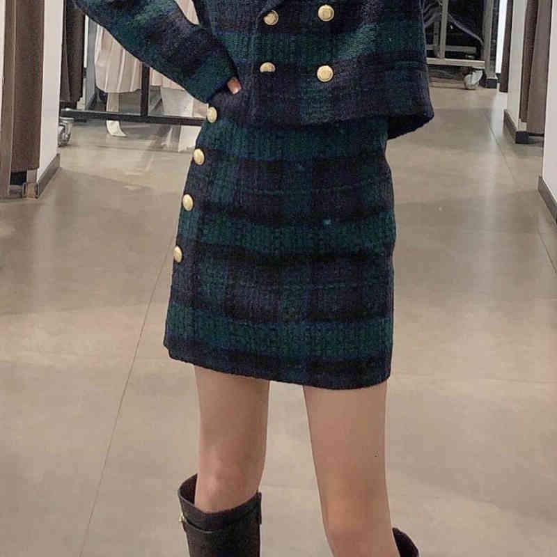 Damen Casual Gitter Mini Hohe Taille Rock Button Dekoration Frühling und Herbst