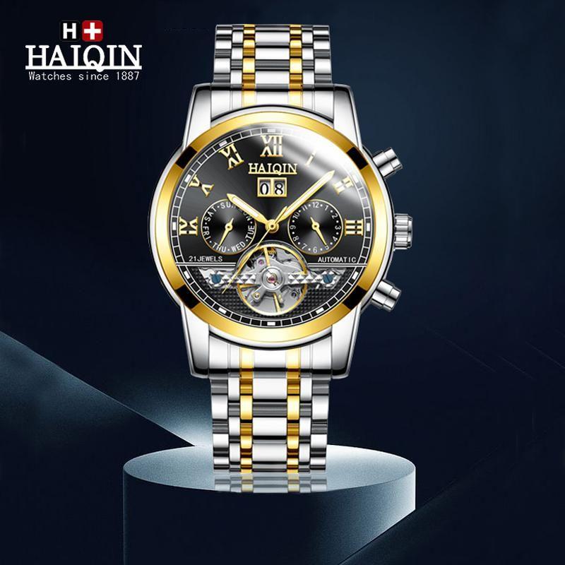 Armbanduhr Haiqin automatischer Uhr-Mann-Mode Militär Wasserdichte Geschäft mechanische Uhren Tourbillon Uhr Relogio
