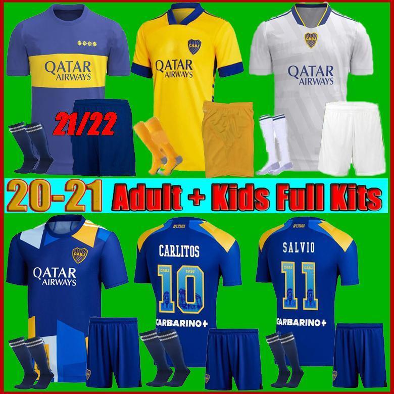 الرجال + Kids Kit 21 22 Boca Juniors Soccer Jersey Carlitos Maradona Tevez de Rossi 2021third Home Thouse 3rd 4th Thailand كرة القدم قميص مجموعات موحدة