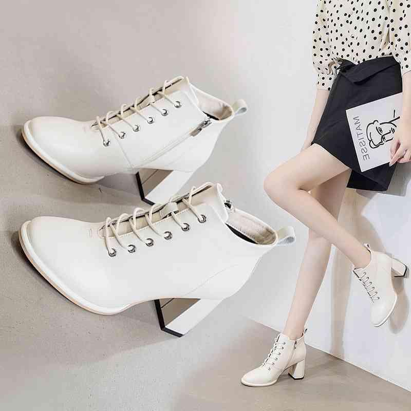 Autumn 2021 high women's new thick heels Korean cowhide fashion short and ankle boots