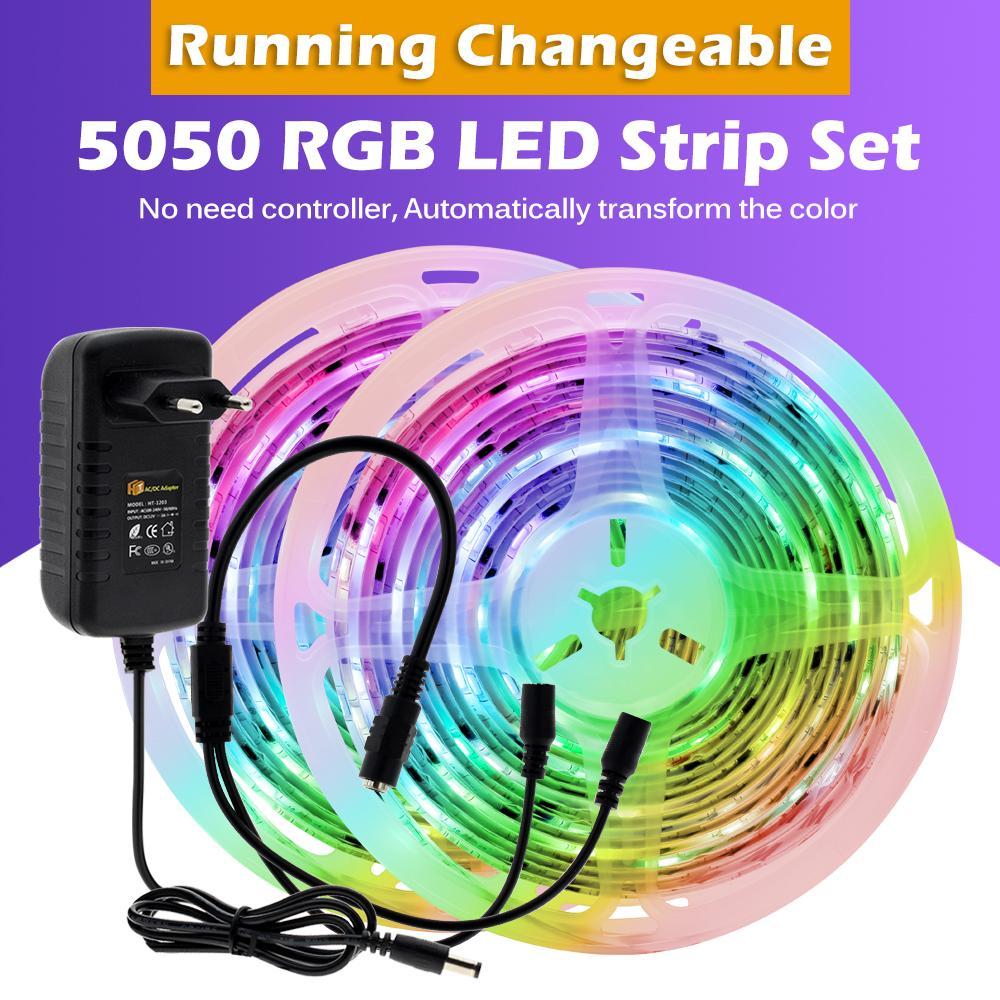 DC12V WS2811 RGB 드림 매직 컬러 5050 LED 스트립 방수 30leds / m 자동 변경 색상 가정용 실내 조명을위한 유연한 빛