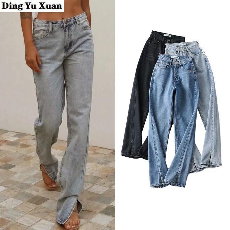Jeans lunghi fidanzato per donne alte moda in denim abbigliamento blu nero beige grigio streetwear vintage horajuku pantaloni dritti donne donne