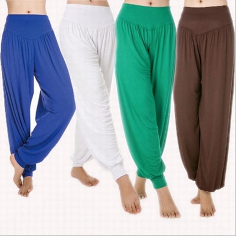 Pantalon de Yoga Plus Taille Taille Taille High Taille Femmes Harem Danse Modal Pantalon Sexy Pantalon Versée Globalement Globalement Sports de survêtement sportif pour les dames