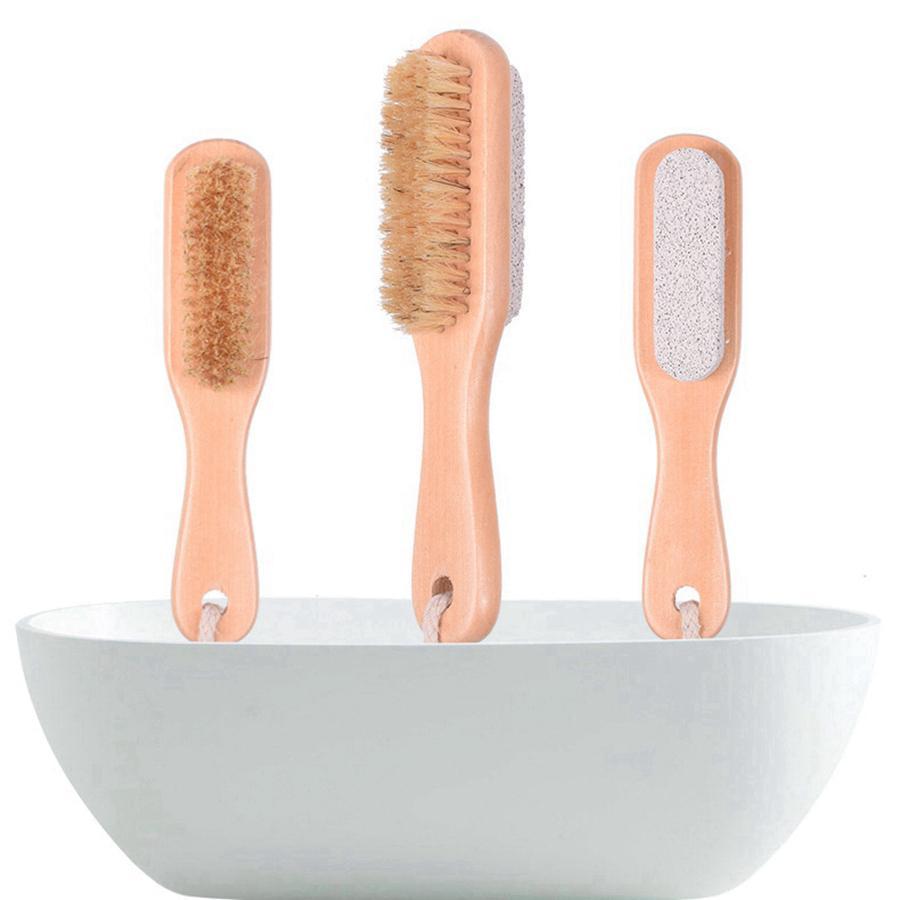 2 em 1 escovas de limpeza corpo natural ou pé esfoliante escova de escova dupla com natureza Pedra de pedra escova de cerdas macias RRE6624