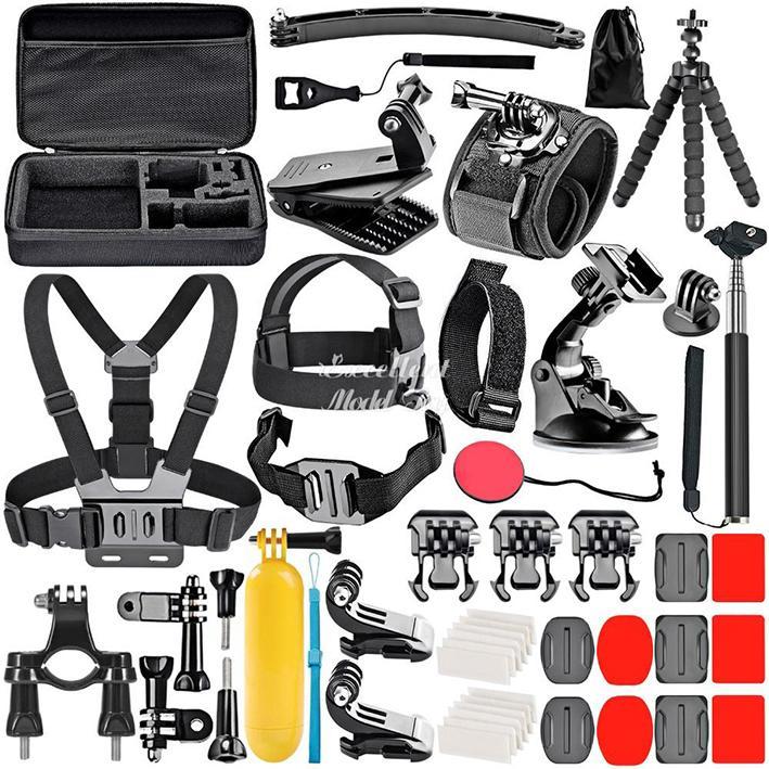 Gopro Accessories Set For Go Pro Hero 9 8 7 6 5 4 Kit 3 Way Selfie Stick, f-or Eken h8r / fo-r yi EVA Case VS77, Black Mount f-o-r Xiao Y-i 4k Mijia Cas-e and Sjcam Action Camera