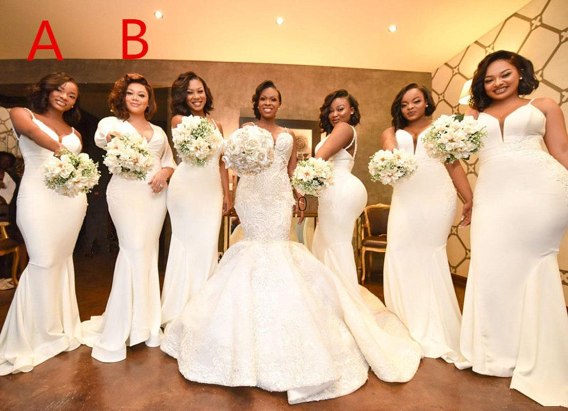 2022 Sexy Spaghetti Mermaid Bridesmaid Dresses Appliques Sweep Train Country Wedding Guest Gowns Maid Honor Dress
