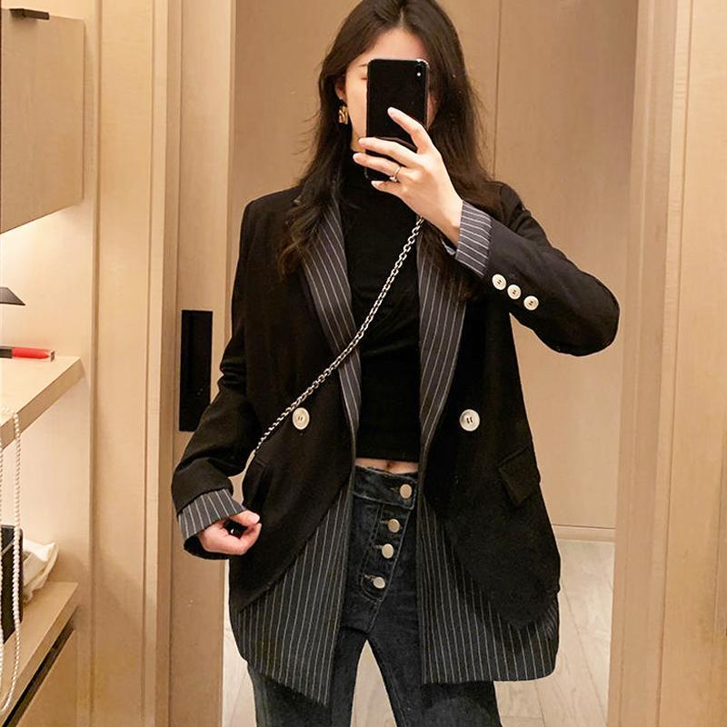 Korean High Street Spliced Suit Jacket Women Black Stitching Designer Double Breasted Business Coat Winter Chic Lady Casual Tops Women's Jac
