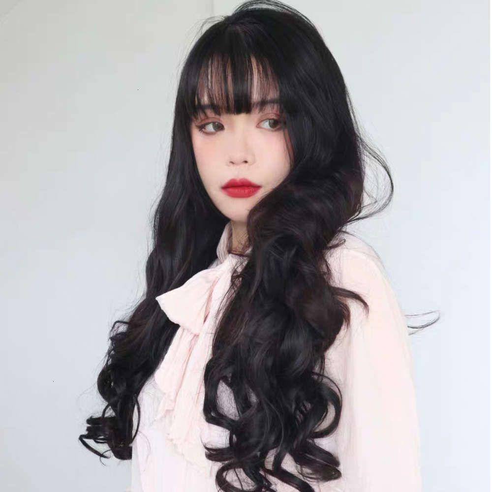 Perücke weibliche koreanische stil luft push long lockiges haar große wellen temperament chemische faserperücke volle Kopfbedeckung Haarperücken