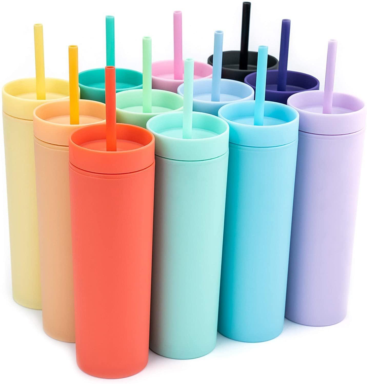 Tumblers acrílicos coloridos 16oz con pajitas de plástico tazas de plástico tazas de café de la pared de doble pared mate Candy Colors Slim Cup para viajar FY4409