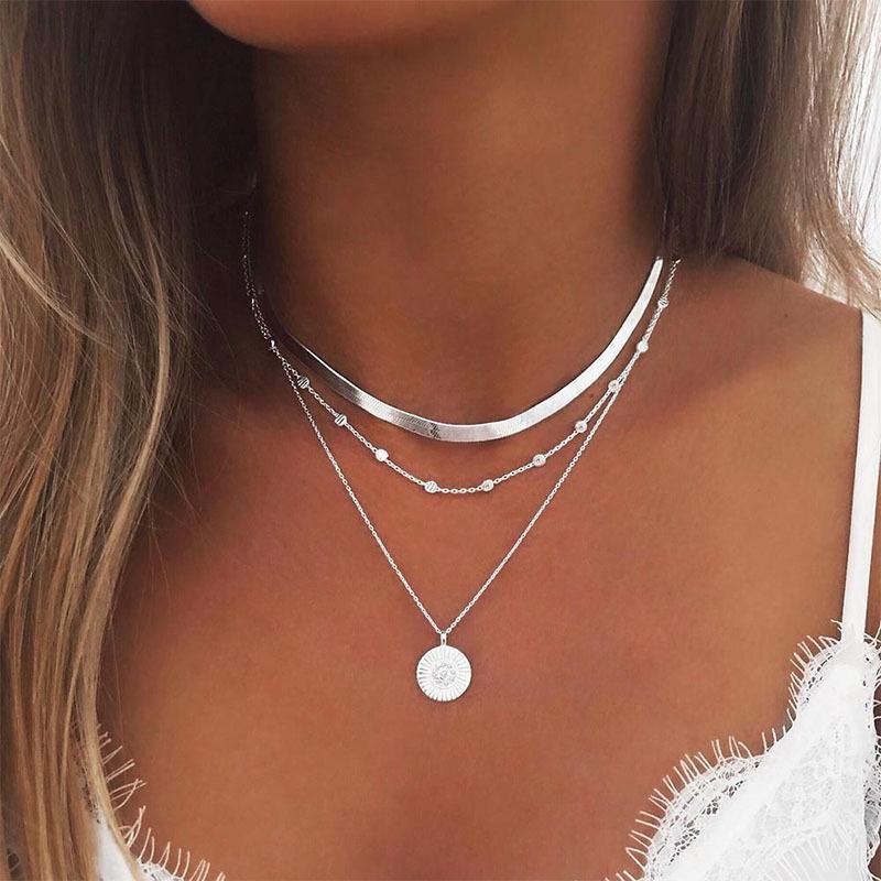 Modeschmuck Halskette Multi-Layer Lotus Anhänger Weibliche Nackenkette Erklärung Frauen Großhandel Halsketten