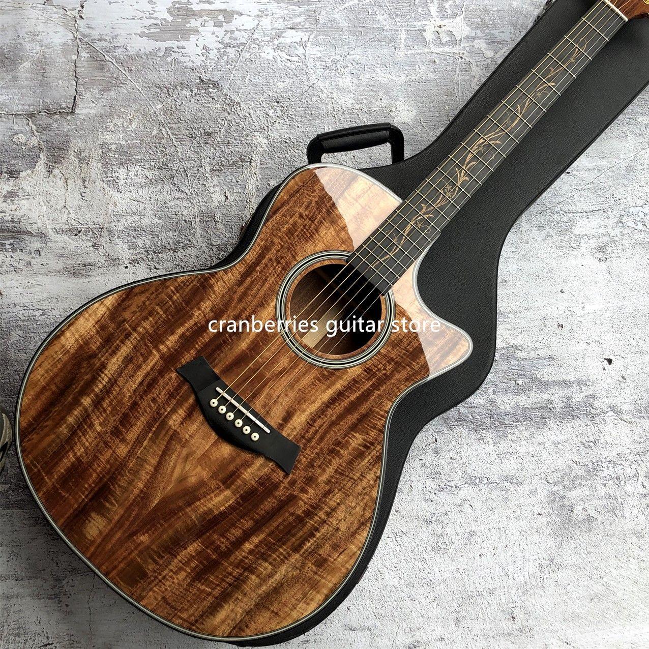 2021 최신 Chaylor K24CE 견고한 KOA 어쿠스틱 기타, 천연 나무 색상, 41 인치 K24 KOA 장면 전환 전기 기타