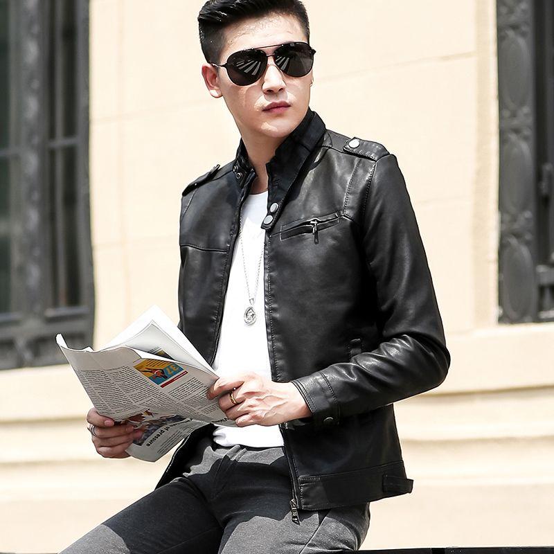 Kalın Kadife Mont PU Ceketler Sonbahar Kış Motosiklet Biker Faux Deri Ceket Erkek Giysileri Fermuar Pocket 2020 Yeni erkek