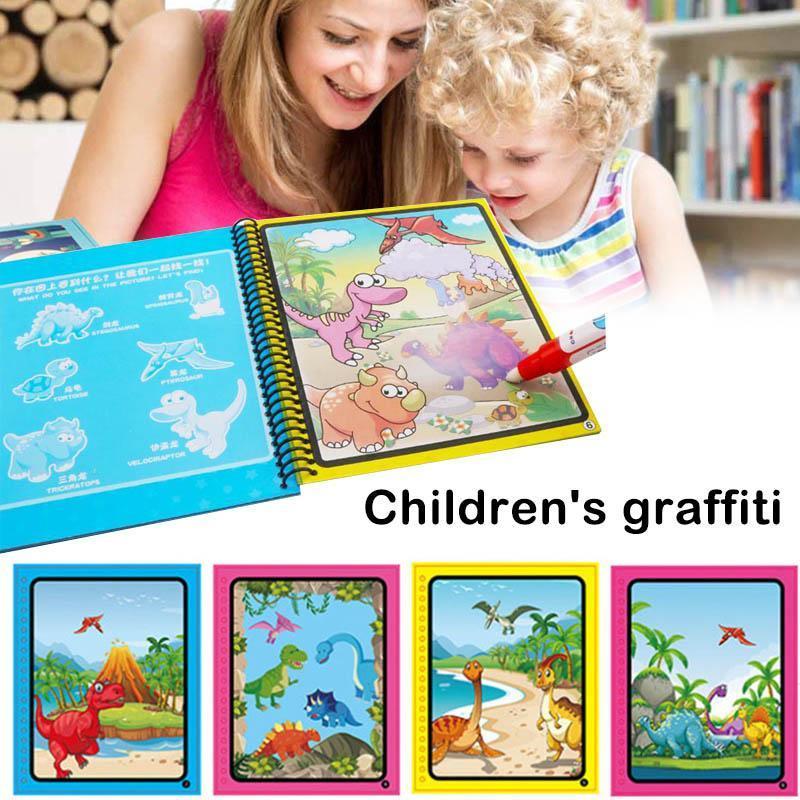 마법의 펜 그림 아이들을위한 그리기 보드 물 생일 선물 반복 재사용 가능한 DQ 메모장 반복