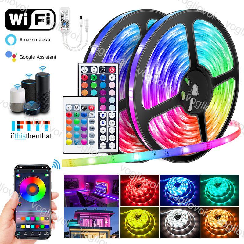 LED Strip Lights Mini WiFi 5m 10m 15m 20m 5050 DC12V 16.4FT 32.8FT 50FT 66FT Nastro a diodi multicolor Nastro multicolore 24Keys 44Keys con controllo App Musica sincronizzazione AC100-240V Power EUB