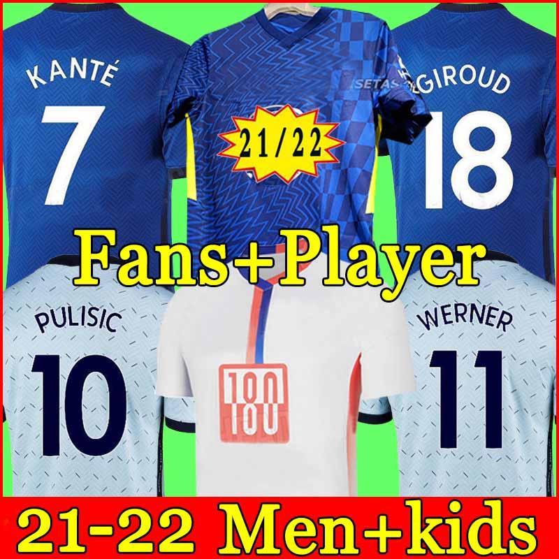 تايلاند الرابع 20 21 22 فيرنر Havertz Chilwell Ziyech Soccer Jerseys 2021 2022 Pulisic Home Blue Football Shirt Kante Mount 4th Men Kids Set Kits Tops