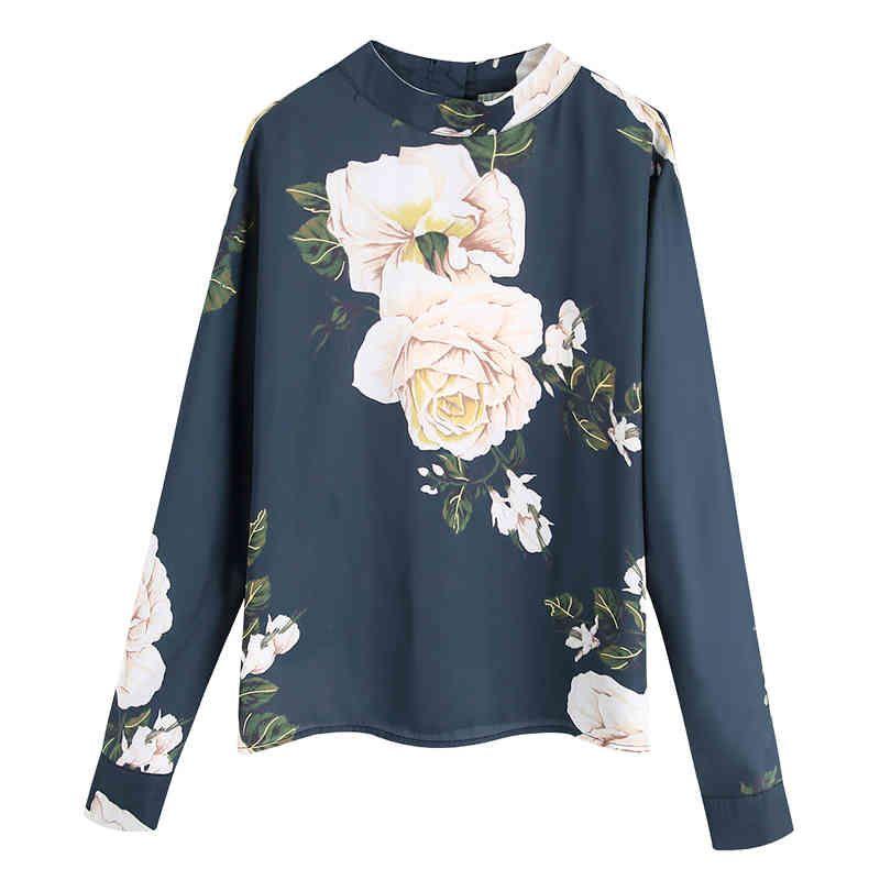 Zoepo Prairie Chic O Col T-shirts Femmes Mode Lâche Floral imprimé Tops Femmes Bouton élégant Tees à manches longues Femme Dames KW